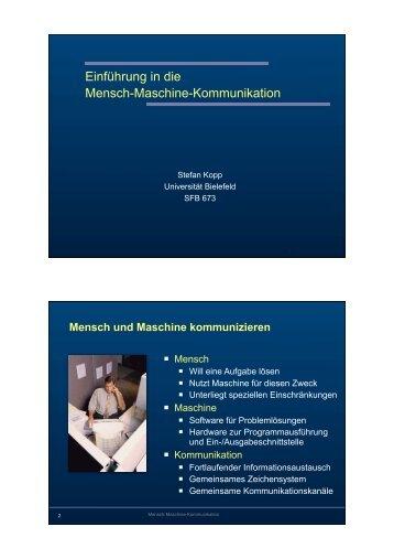 Einführung in die Mensch-Maschine-Kommunikation - Universität ...
