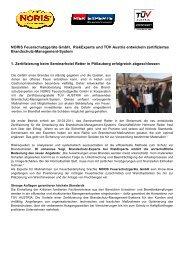 Bericht über die 1. Zertifizierung - Noris Feuerschutzgeräte GmbH