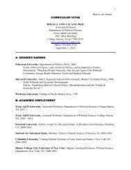CURRICULUM VITAE DIEGO A. VON VACANO, Ph.D - Political ...