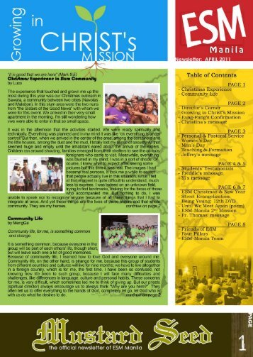Newsletter April 2011 - ESM Manila