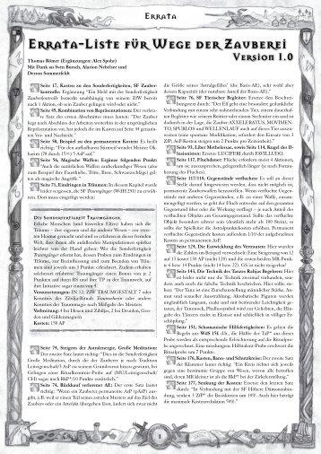 Errata-Liste für Wege der Zauberei - Das Schwarze Auge