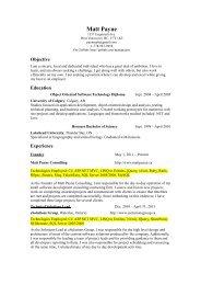 Standard Resume - Matt Payne Consulting