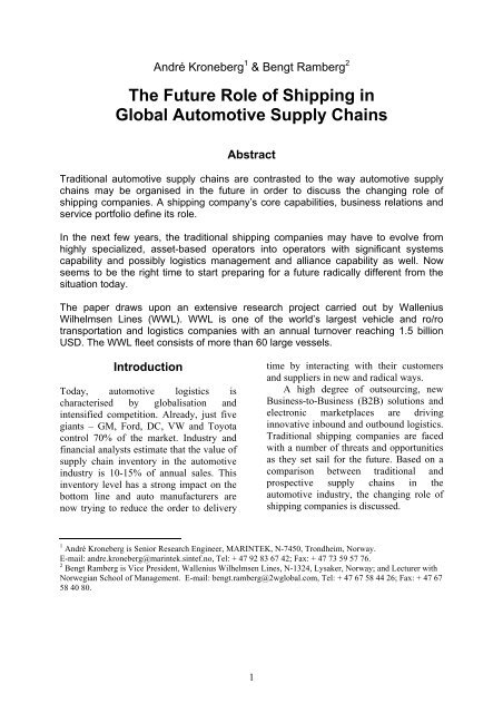 The Future Role of Shipping in Global Automotive     - IMP Group
