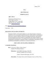 View Vita - Political Science Department - Texas A&M University