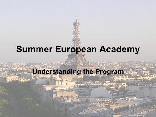 Summer European Academy Main Presentation - Political Science ...