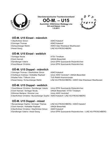 OÖ-M. – U15 - Higra Tischtennis Sport Kinberger, Oberösterreich