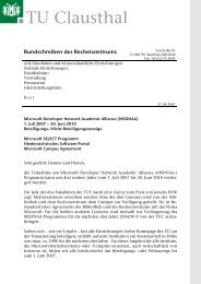 Microsoft Campus Agreement - Rechenzentrum - TU Clausthal