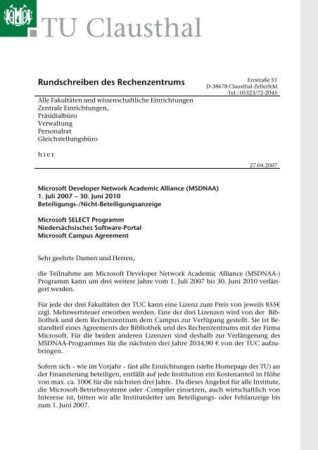 Microsoft Campus Agreement Rechenzentrum Tu Clausthal