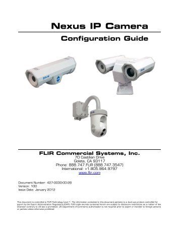 Nexus IP Camera Configuration Guide - Flir Systems