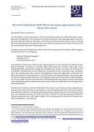 Microsoft Landeslizenz NRW (Microsoft Campus Agreement) an der ...