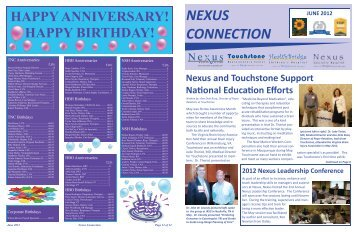 nexus connection june 2012 - Touchstone Neurorecovery Center