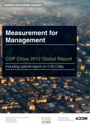 Measurement for Management: CDP Cities 2012 Global Report