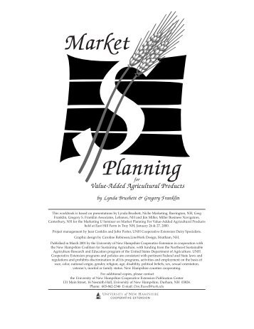 Market Planning for Value-Added Agricultural Products (PDF