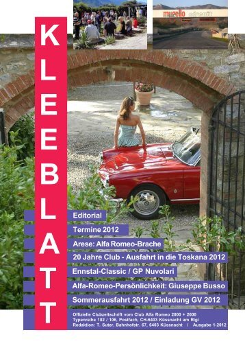 Kleeblatt 1-2012 Titelseite - Alfa Romeo Club Küssnacht am Rigi