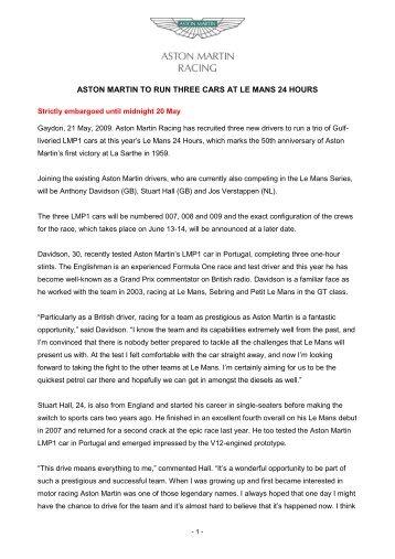 aston martin racing set for barcelona debut - Stuart Hall Racing