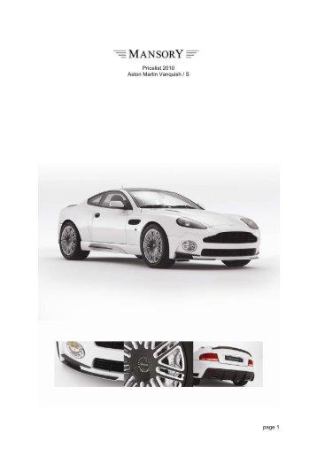 Page Pricelist Aston Martin Vanquish S - Aston martin price list