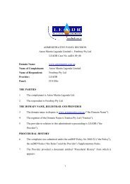 1 ADMINISTRATIVE PANEL DECISION Aston Martin ... - LEADR