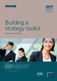 Building a Strategy Toolkit - (AIM) Research