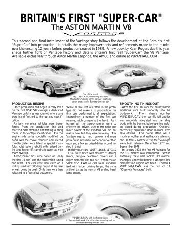 "BRITAIN'S FIRST ""SUPER-CAR"" - The Aston Martin V8 Vantage ..."