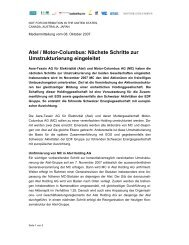 Atel / Motor-Columbus: Nächste Schritte zur Umstrukturierung ... - Alpiq
