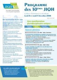 Programme des 10èmes JIQH Programme des 10èmes JIQH - JIQHS