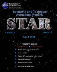 NASA Scientific and Technical Aerospace Reports