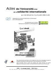 Actes de l'Universitéd'été de la solidarité internationale - Crid