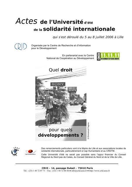 Actes de l'Universitéd'été de la solidarité internationale - Crid