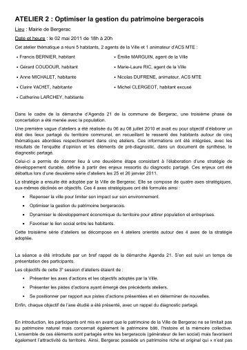 ATELIER 2 : Optimiser la gestion du patrimoine bergeracois