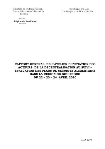 evaluation des plans de securite alimentaire dans la region de ...