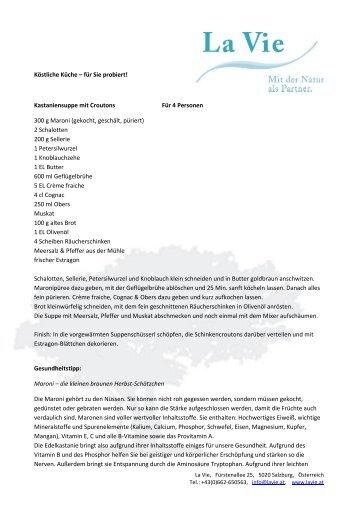 Kastaniensuppe mit Croutons - La Vie