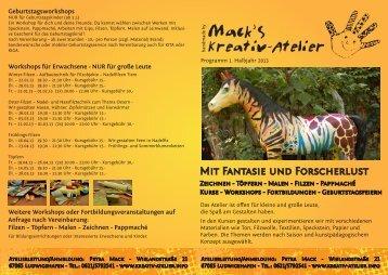 Kursprogramm 1. Halbjahr 2013 (PDF) - Kreativ Atelier