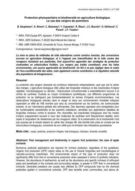 Protection phytosanitaire et biodiversité en agriculture ... - Inra