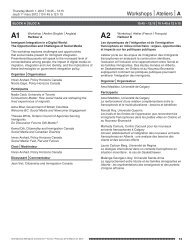 Workshops |Ateliers |A - 14th National Metropolis Conference