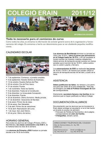Libros de Texto para ESO Curso 2011/12 - Colegio Erain