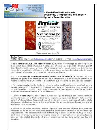 Téléchargez l'article de presse - Hélène Mignot... Art contemporain