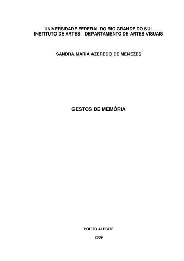 GESTOS DE MEMÓRIA - ufrgs