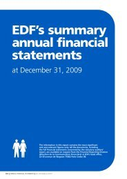 EDF's summary annual financial statements