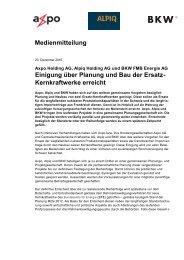 Einigung über Planung und Bau der Ersatz- Kernkraftwerke ... - BKW