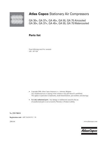 atlas copco air compressor parts manual