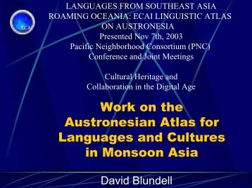 Cultural And Linguistic Atlas for Historic Monsoon Asia - Pacific ...