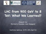 Deepak Kar (Formerly Dresden, now Glasgow) Institute Seminar ...