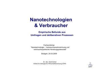 Nanotechnologie und Verbraucher - Institut für ökologische ...