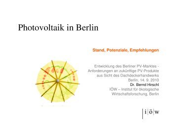 Photovoltaik in Berlin - Institut für ökologische Wirtschaftsforschung
