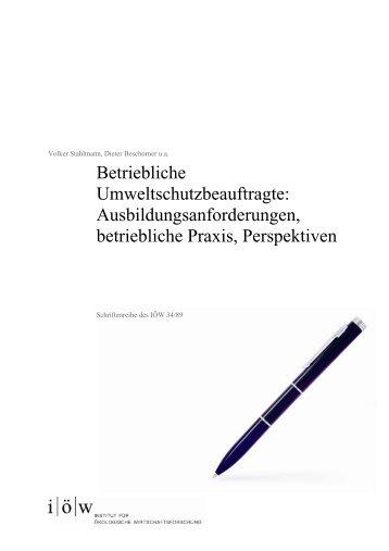 betriebliche umweltschutzbeauftragte - Institut für ökologische ...