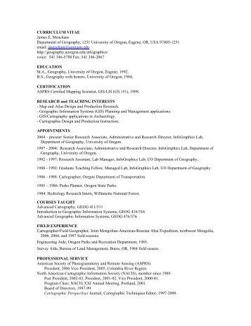 CURRICULUM VITAE James E. Meacham - Geography - University ...