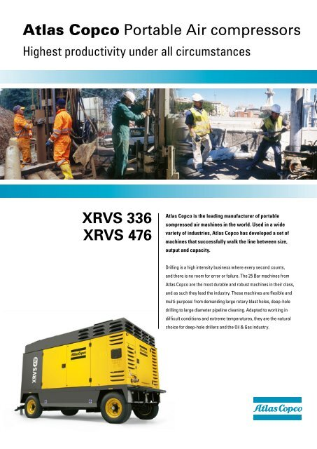 XRVS 336 XRVS 476 Atlas Copco Portable Air compressors