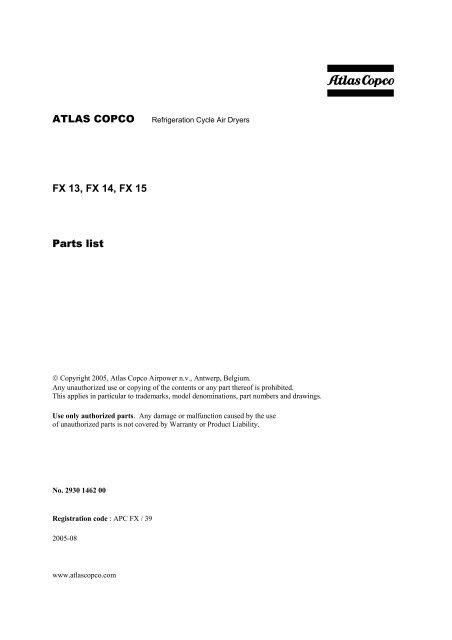 atlas copco fx 13 fx 14 fx 15 parts list