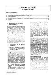 Steuer aktuell Dezember 2010 - MITTERDORFER + PIRA + ...