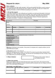 Request for return May 2004 - Mizu Vertriebs GmbH